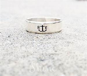 men39s anchor ring sterling initial ring personalized With anchor wedding rings