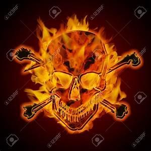 Fire Burning Flaming Metal Skull With Crossbones On Dark ...