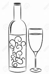Wine Bottle Glass Drawing Line Coloring Pages Bottles Outline Illustration Templates Drawings Painting Stencils Depositphotos Vector Stencil Draw Printable Cute sketch template