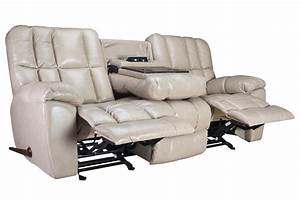 Toronto gliding reclining sofa with drop down table at for Sectional sofa with drop down table