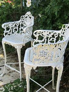 Vintage victorian white ornate wrought iron chair indoor for White wrought iron furniture
