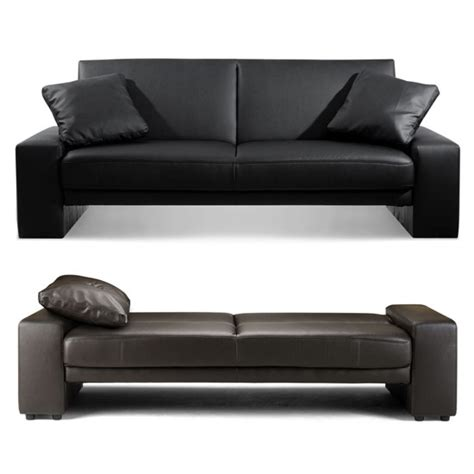 black leather bed settee astor black faux leather sofa bed 5107 furniture in fashion