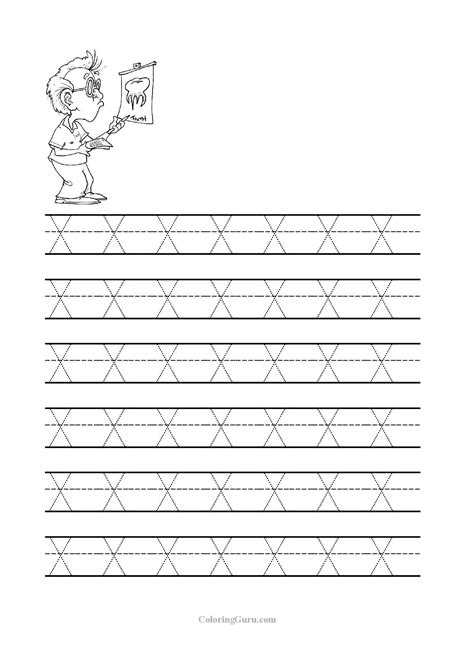 letter x tracing worksheet for kindergarten worksheets for