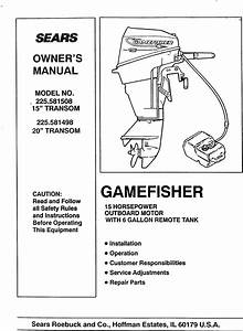 Craftsman 225581498 User Manual Gamefisher 15 H P  20