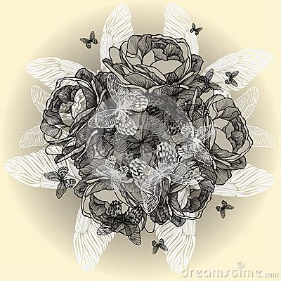 Vintage Floral Background Roses Butterflies Stock