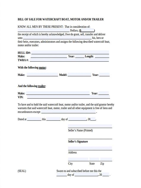 Boat Bill Of Sale Images by 6 Boat Bill Of Sale Form Sle Free Sle Exle