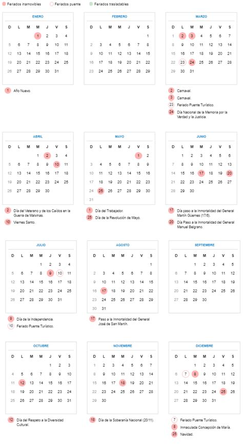 el calendario tendra feriados tres puente