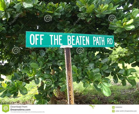 the beaten track in the beaten path road sign stock photo image 55962052