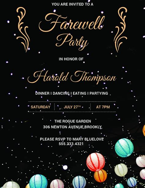 farewell invitation designs  premium templates
