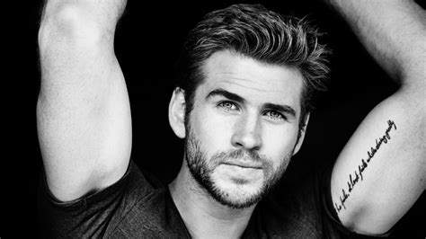 Full Hd Wallpaper Liam Hemsworth Tattoo Black And White
