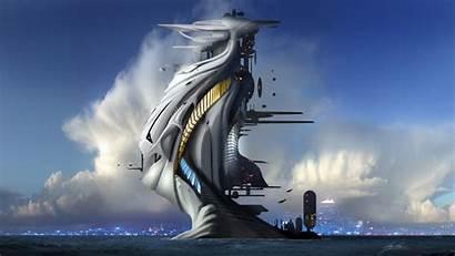 Futuristic Future Architecture Towers Artwork Sea Clouds