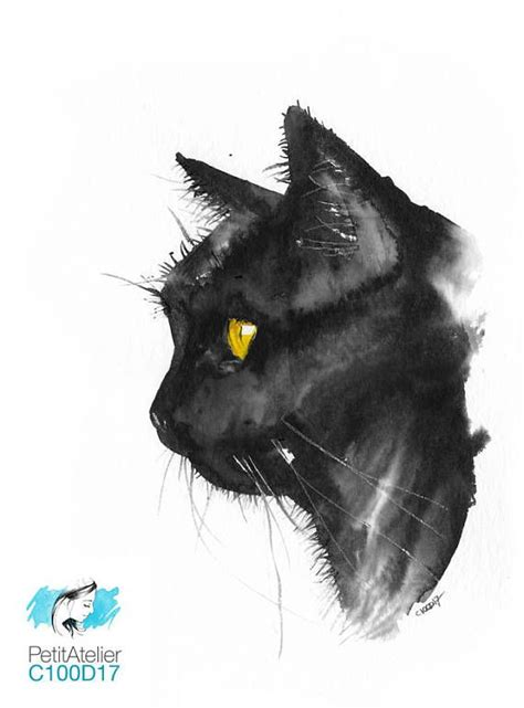 Abstract Black Cat Watercolor by Original Gift Unique Watercolor Black Cat With My