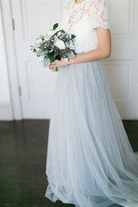 powder blue tulle skirt lace top two pieces wedding With lace top tulle skirt wedding dress