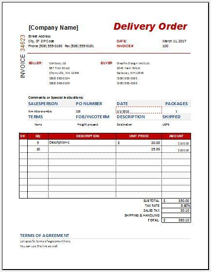 delivery order templates  images templates