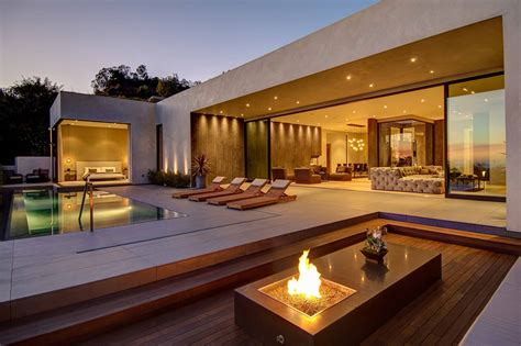 modest by design awesome beige dark brown wood glass modern design cool tropical minimalist outdoor bonfire pool