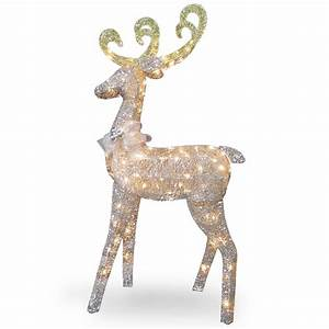 National, Tree, Company, 60, U0026quot, Reindeer, Decoration, With, Clear, Lights
