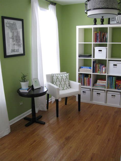 apple green home office seating area organized office paint colors for living room green