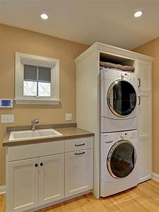 Awesome Laundry Room Ideas Stacked Washer Dryer Design With White Washing Machine And Wooden