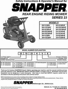 Snapper 281123bv User Manual Rear Engine Riding Mower