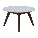 Life Interiors   Oia Round Marble Coffee Table (Walnut