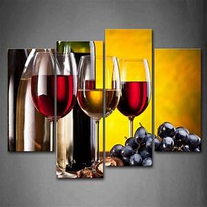 4 Piece Frame Modern Kitchen Canvas Paintings Red Wine Cup