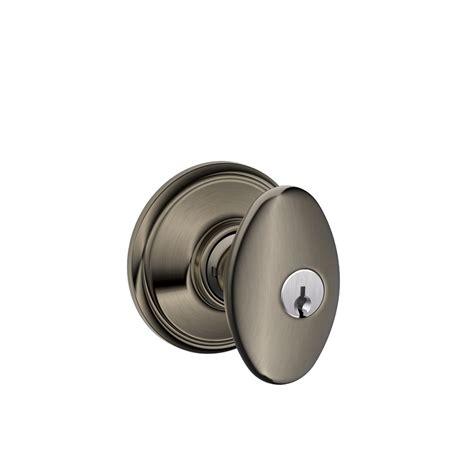 schlage door knob shop schlage f siena antique pewter keyed entry door knob