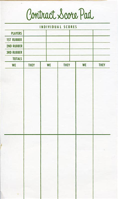 Printable Bridge Score Sheet Template Scorecard Bridge