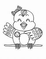 Coloring Canary Bird Happy sketch template