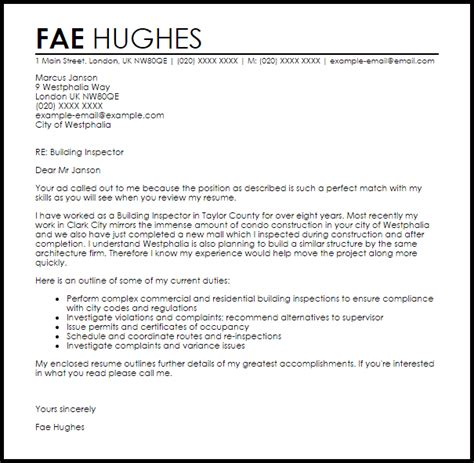 Building Inspector Cover Letter Resume by Building Inspector Cover Letter Sle Livecareer