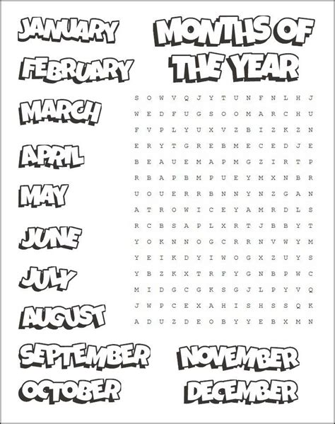 printable months word search  images english