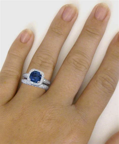 cusion cut ring cushion cut blue sapphire and halo engagement ring
