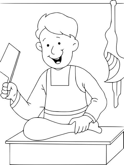 jeux cuisine coloriage boucher à imprimer