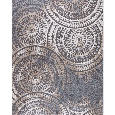 Home Decorators Collection Spiral Medallion Gray 9 ft. 3