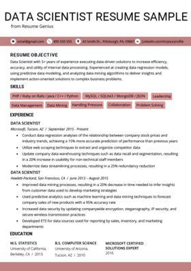 Resume Statistics by Data Scientist Cover Letter Sle Tips Resume Genius