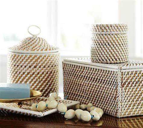 woven white bath accessories