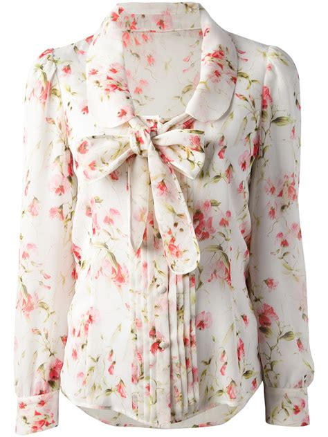 bow floral blouse valentino floral print blouse lyst