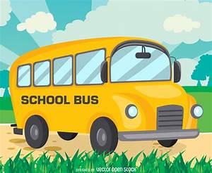 Flat school bus drawing design - Vector download