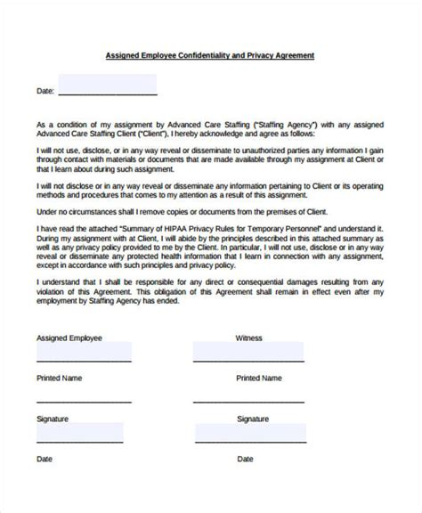 sample employee confidentiality agreement form