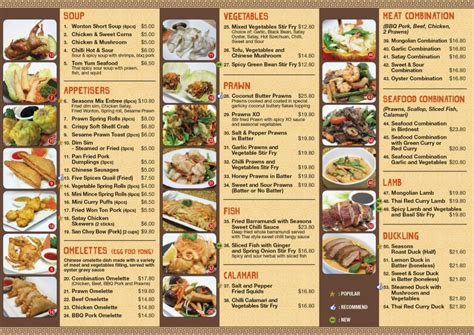 carte cuisine menu items with pictures