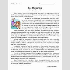 Reading Comprehension Worksheet  Food Poisoning