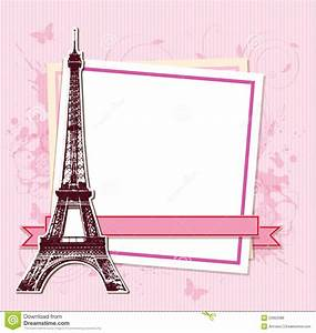 White Frame With Paris And The Eiffel Tower Stock Vector Illustration of voyage, journey: 53955086