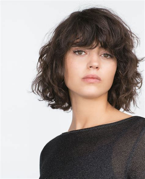 curly lob haircut with bangs www pixshark images