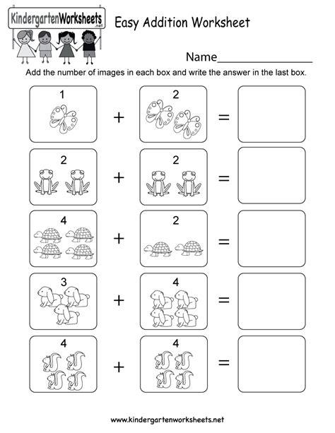 Easy Addition Worksheet  Free Kindergarten Math Worksheet For Kids