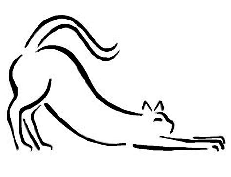 stretching cat drawing clipart