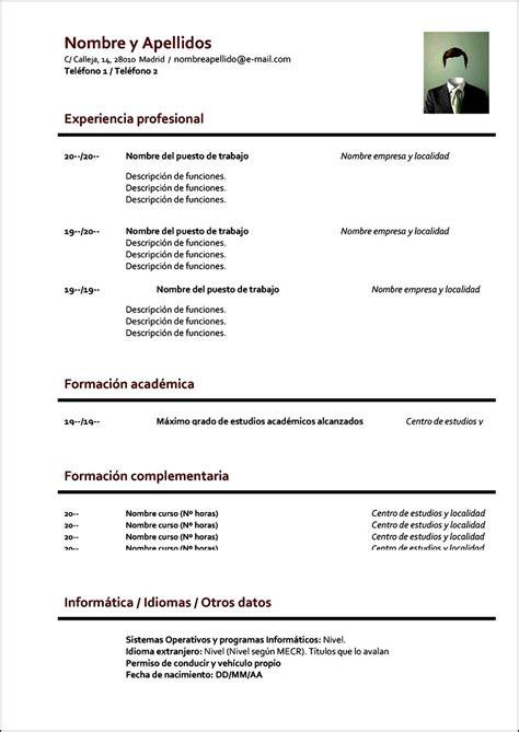 Modelos De Resume by Curriculum Vitae Formato Para Llenar Free Sles