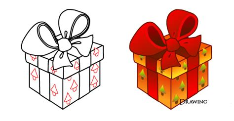 draw christmas gift boxes drawing  paint