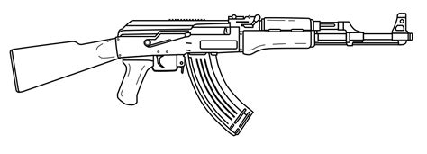 Pencil And In Color Drawn Rifle Ak 47