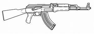 Drawn rifle ak 47 - Pencil and in color drawn rifle ak 47