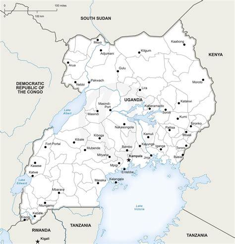 map  uganda political maps  africa continent