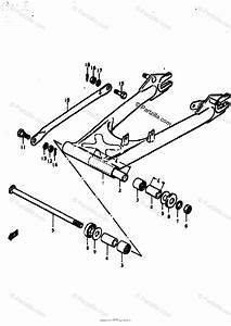 Suzuki Motorcycle 1977 Oem Parts Diagram For Rear Swinging